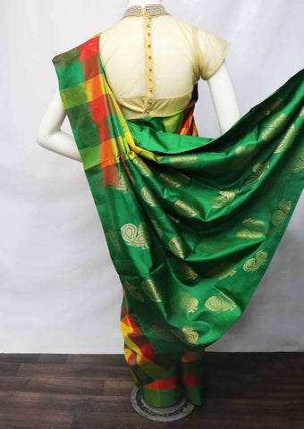 Multi Color Checked Soft Silk Saree - FT15859 ARRS Silks