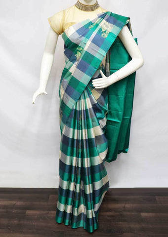 Multi Color Checked Soft Silk Saree - FU45059 ARRS Silks