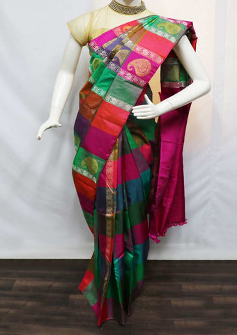 Multi Color Kanchipuram Silk Saree - 9KA7957 ARRS Silks