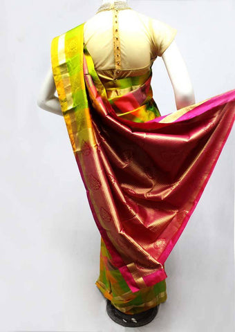 Multi Color Kanchipuram Silk Saree - FR62458 ARRS Silks
