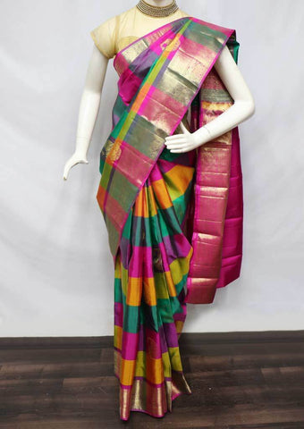Multi Color Kanchipuram Silk Saree -FS24981 ARRS Silks