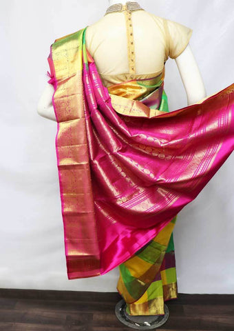Multi Color Kanchipuram Silk Saree -FT20361 ARRS Silks
