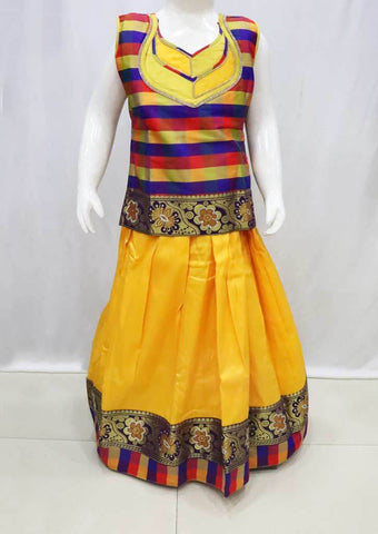 Multi color Pattu Pavadai - FR21622  (Size : 8 Years ) ARRS Silks