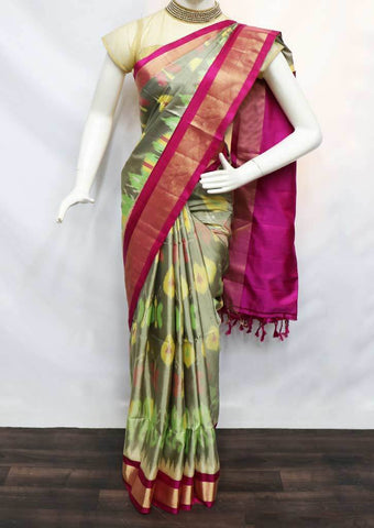 Multi color Pochampally Silk Saree - FU44292 ARRS Silks