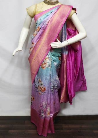 Multi Color Printed Linen Saree - FV25974 ARRS Silks