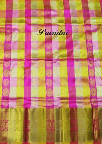 Multi Color Pure silk Unstitched pattu pavadai - EO6369( Age-3 year to 6 years) ARRS Silks