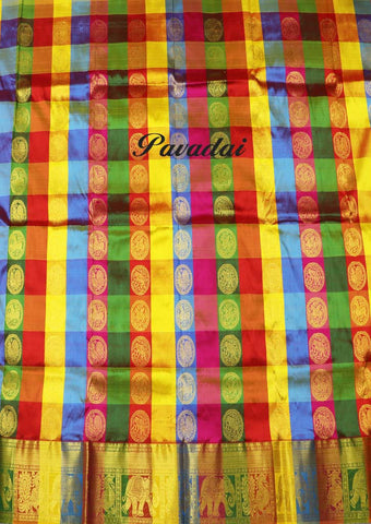 Multi Color Pure silk Unstitched pattu pavadai - FF17486( Age-3 year to 6 years) ARRS Silks