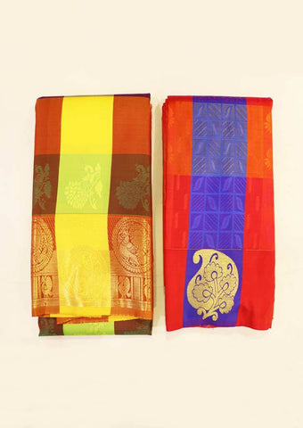 Multi Color semi silk saree (BUY1 GET1) - FZ24255,GB111438 ARRS Silks