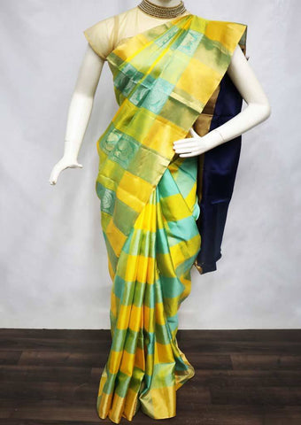 Multi Color with Blue Checked Soft Silk Saree - FU45066 ARRS Silks