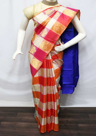 Multi Color With Blue Kanchipuram Silk Saree - HBE17640 ARRS Silks