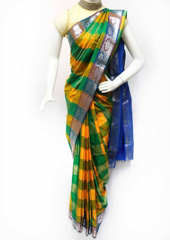 Multi Color with Blue Semi Silk Saree- FR33542 ARRS Silks Salem