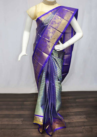 Multi Color with Blue Wedding Silk Saree - FR119945 ARRS Silks