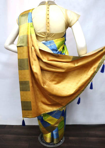 Multi Color with Dark Sandal fancy soft silk saree  - FV21269 ARRS Silks