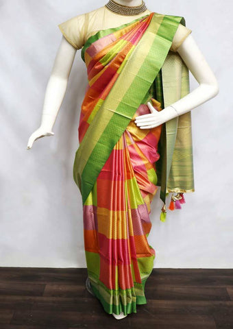 Multi Color with green fancy soft silk saree  - FT5156 ARRS Silks Salem