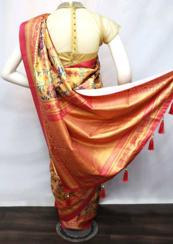 Multi Color with Pink fancy soft silk saree  - FV21320 ARRS Silks