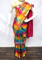 Multi Color with Pink Kanchipuram Silk Saree  - 9KA2702 ARRS Silks