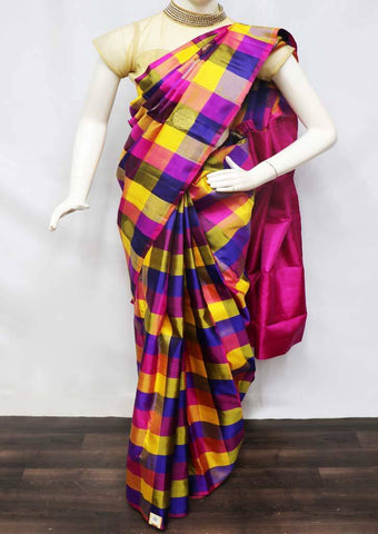 Multi Color With Pink Kanchipuram Silk Saree - 9KA6255 ARRS Silks