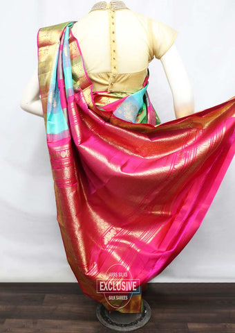 Multi Color With Pink Kanchipuram Silk Saree - FT20360 ARRS Silks