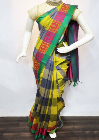 Multi Color with Pink Pure Silk Cotton Saree - FV10346 ARRS Silks