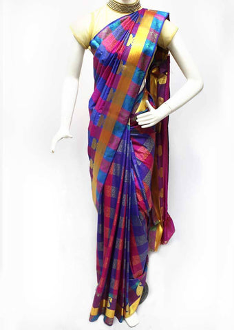 Multi Color with Pink Semi Silk Saree- FR127107 ARRS Silks