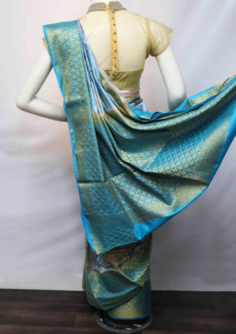 Multi Color With Sky Blue Printed Linen  Saree - FV25949 ARRS Silks