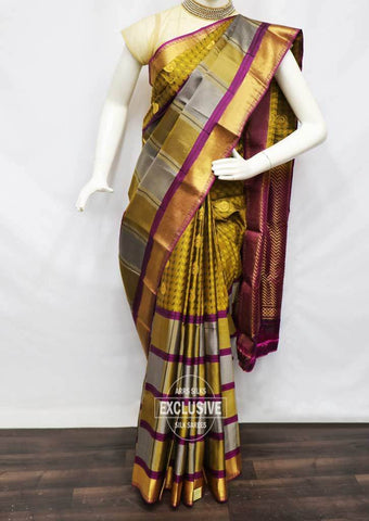 Multi Color with Vadamalli Kanchipuram Silk Saree - NBE5951 ARRS Silks
