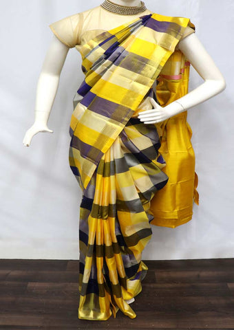 Multi Color with Yellow Kanchipuram Silk Saree - 9KA2460 ARRS Silks