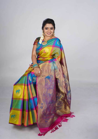 Multi Colour Checked Kanchipuram Silk Saree - FH1931 ARRS Silks