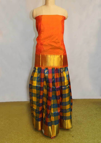 Multi Colour Checked Pure silk pavadai - NCC6516 ARRS Silks