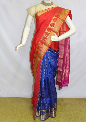 Multicolor Kanchipuram Silk Saree-EF2560 ARRS Silks