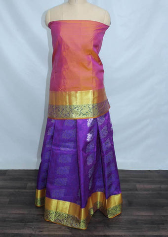 Mustard and pink Shade With Dark Violet Coloured Pattu Pavadai Material - FP4284 (Size:  13Yrs to 18Yrs) ARRS Silks