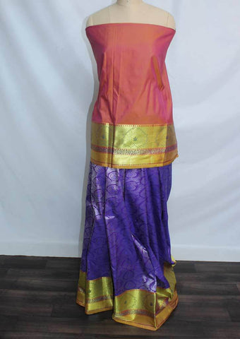 Mustard and pink Shade With Violet Coloured Pattu Pavadai Material - FP4355 (Size:  13Yrs to 18Yrs) ARRS Silks