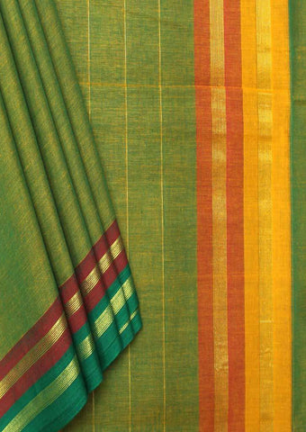 Mustard Green Pure Cotton 9.5 yards Saree - FP54192 ARRS Silks