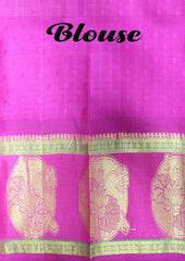 Mustard Green with Pink Kanchipuram Silk Saree - FL2 ARRS Silks