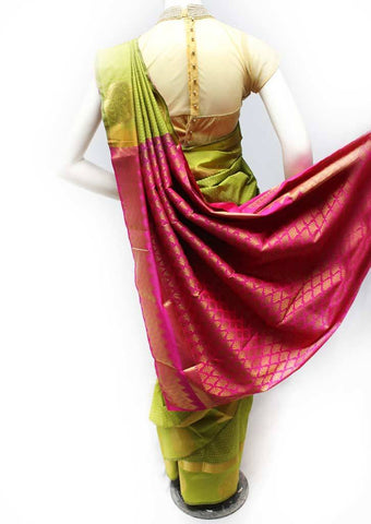 Mustard Green with Pink Semi Silk Saree- FR98422 ARRS Silks