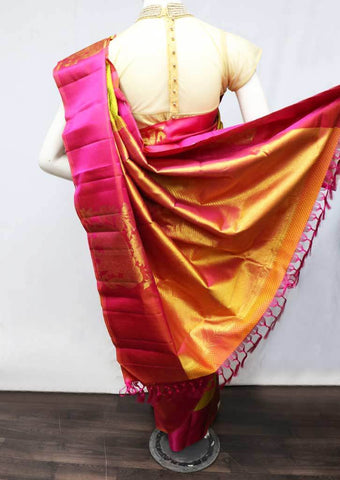 Mustard Green with Pink Wedding Silk Saree - FR126318 ARRS Silks