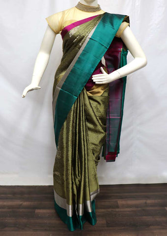 Mustard Green with Ramar Green Soft Silk Saree - FU45075 ARRS Silks