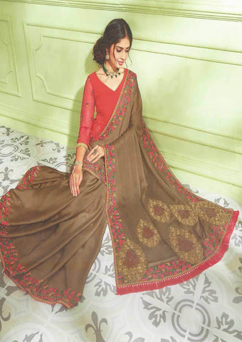 Mustard Green with Red Designer Saree - FS31710 ARRS Silks