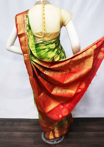Mustard Green with Red Semi Raw Silk Saree - FS8217 ARRS Silks