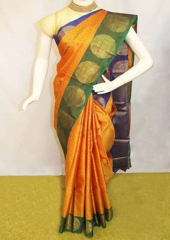 Mustard Orange Organza Cotton Sarees- FP10480 ARRS Silks