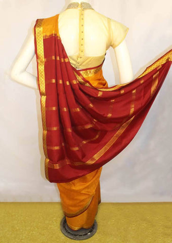 Mustard Orange with Red  Mysore Silk Saree-FL68315 ARRS Silks