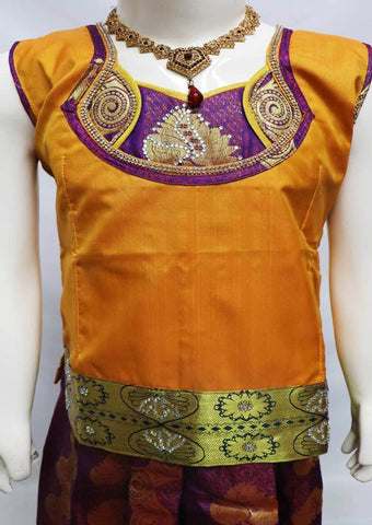 Mustard Orange with Violet Pattu Pavadai - FU3270 (Size: 6 Years) ARRS Silks