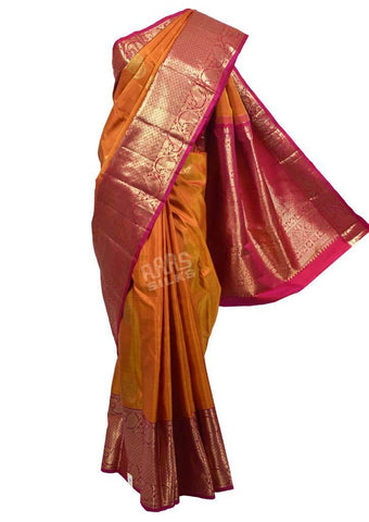 Mustard with Pink Kanchipuram Silk Saree-FQ102897 ARRS Silks