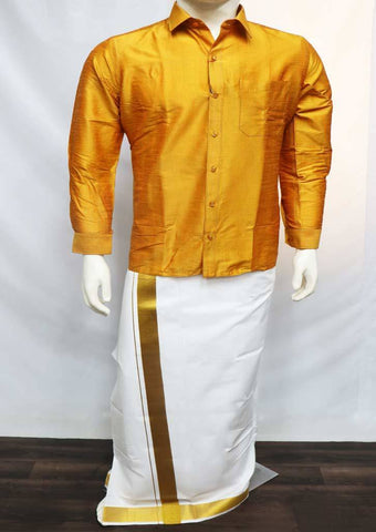 Mustard Yellow  Full Hand Silk Cotton Shirt - FT1048 ARRS Silks