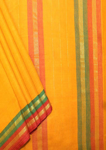 Mustard Yellow Pure Cotton 9.5 yards Saree - FP54194 ARRS Silks