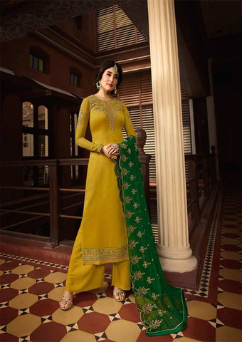 Mustard Yellow Satin Georgette Grand Chudi Material -FQ67182 ARRS Silks