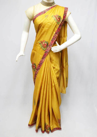 Mustard Yellow Semi Tussar Saree-FO6110 ARRS Silks