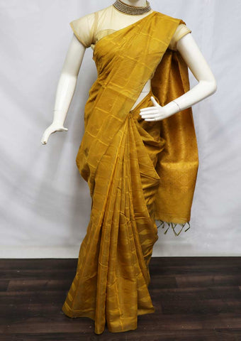 Mustard Yellow Silk Cotton Saree - 9KB474 ARRS Silks