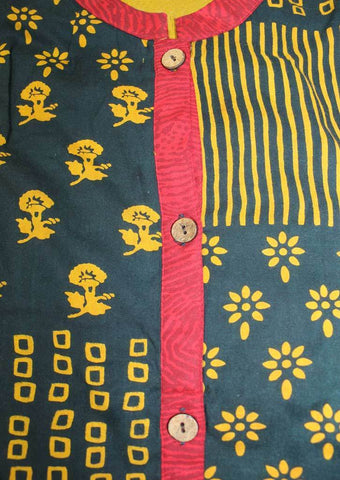 Mustard Yellow with Black Cotton Kurti - FI3965 ARRS Silks