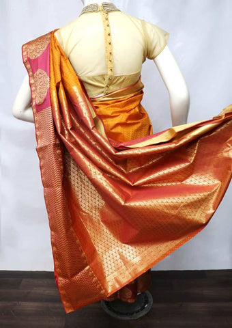 Mustard Yellow with Maroon Semi Silk Saree - FT5085 ARRS Silks